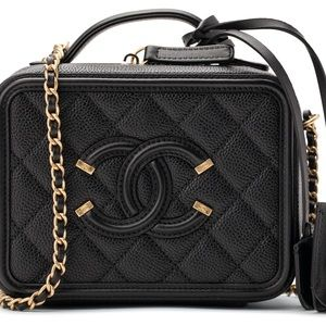 Caviar Quilted Small CC Filigree Vanity Case Black